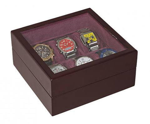 6 Slot Watch Box in Burgundy WD106 - mywristcheck.com