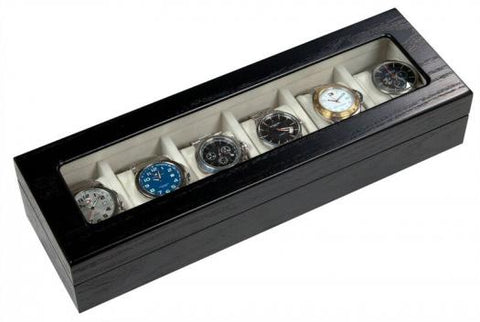 6 Slot Watch Box Black w/ Wood Grain WD-906