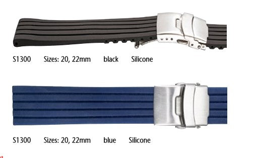 Silicone watch strap with deployment clasp #S1300 - mywristcheck.com