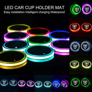 Solar Car Cup Holder Bottom Mat Pad Cover Lamp Bottle Drinks Coaster With Led Light Anti-slip Mat Interior Accessories