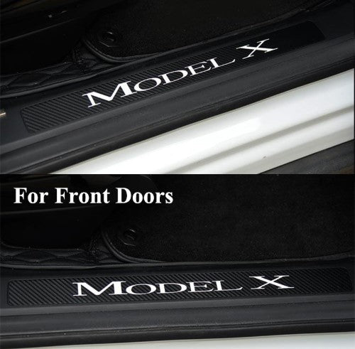Front Door CoolKo Newest and Improved Car Door Welcome Pedal Sills Protection Kit Real Carbon Fiber for Tesla Model S