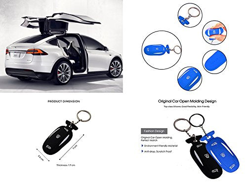 CoolKo Newest Silicone Tesla Car Key Fob Cover Skin Case with 3 Smart Key  Buttons Keyless Protector Bag Holder for Tesla Model X [Black and Blue - 2