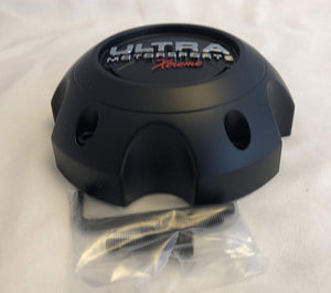 ULTRA 5 Lug Extreme Black Wheel Center Cap (QTY 4) p/n # 89-9756SBX WITH BOLTS