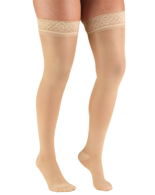 TRUFORM Women's TruSheer Thigh High Lace Silicone Top Band 20-30 mmHg