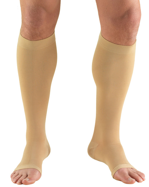 Truform Classic Medical Open Toe Knee High Silicone Dot Top 20-30 mmHg