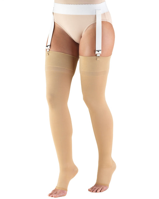 TRUFORM Classic Medical OPEN TOE Thigh High Support Stockings 30-40 mmHg