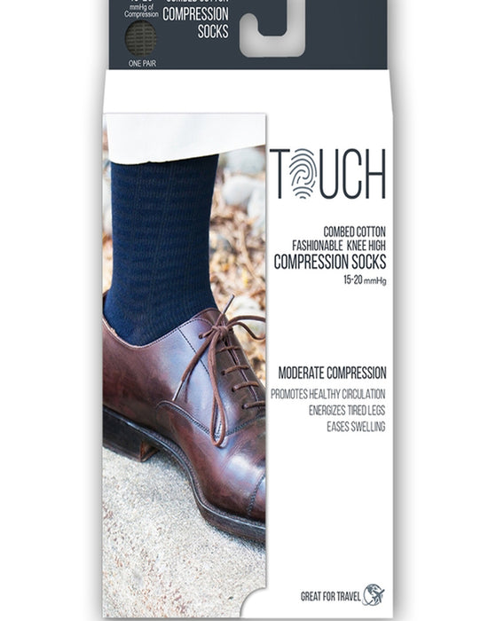 Touch Men's Fine Checkered Pattern Knee Highs 15-20 mmHg