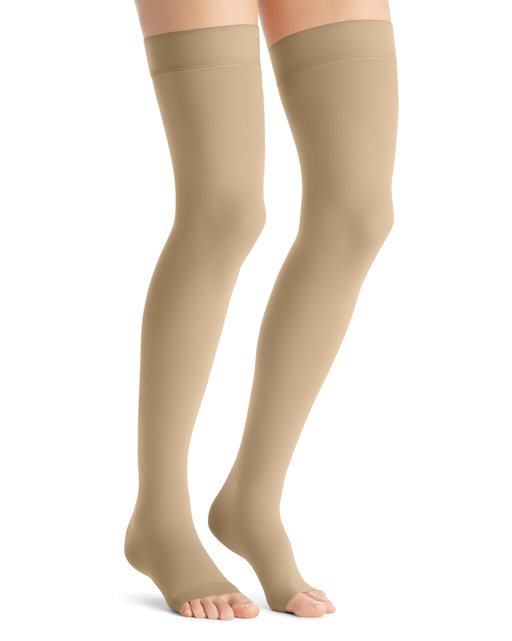 Jobst Opaque Open Toe Thigh High Firm Support Stockings 20-30 mmHg