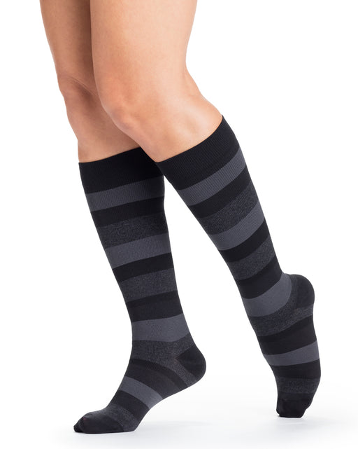 Sigvaris 143C Microfiber Shades Mini-Stripe Women's Closed Toe Knee Highs 15-20 mmHg