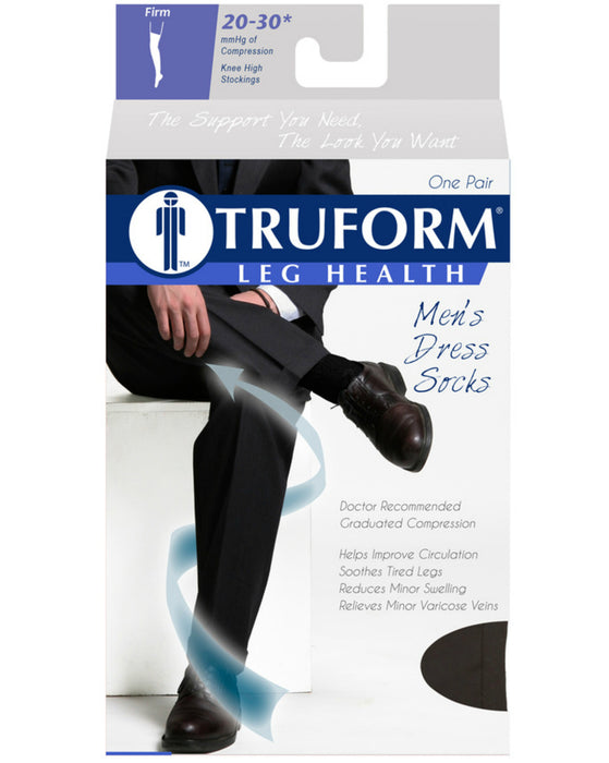 TRUFORM Men's Dress Knee High Socks 20-30 mmHg
