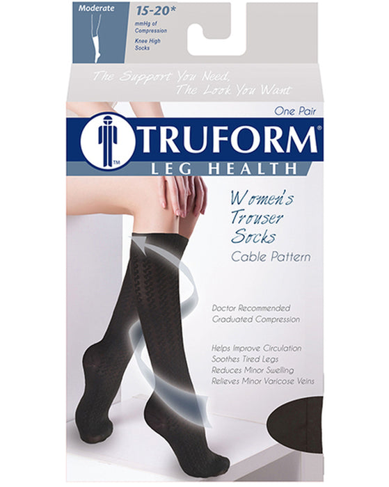 TRUFORM Women's Cable Knit Trouser Socks 15-20 mmHg