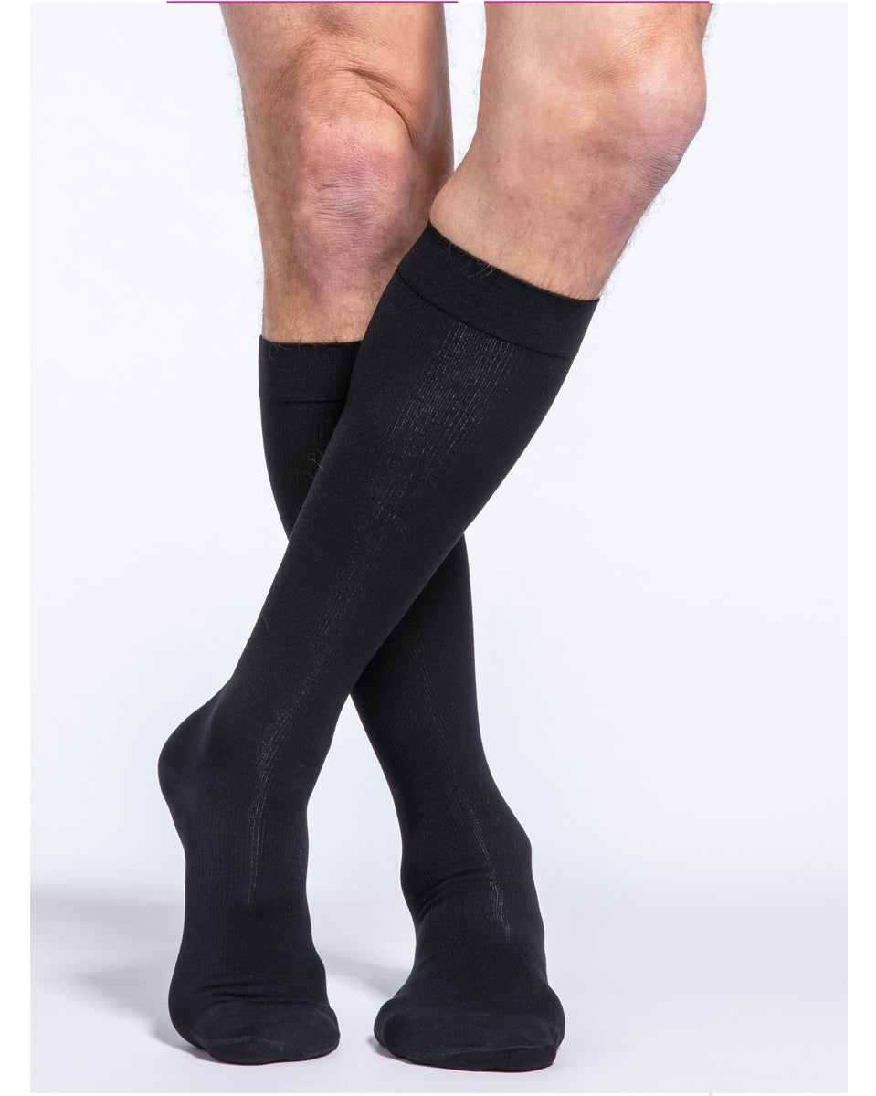 Sigvaris 230 Cotton Series Men's Closed Toe Knee Highs w/Silicone Grip Top Band 30-40 mmHg - 233