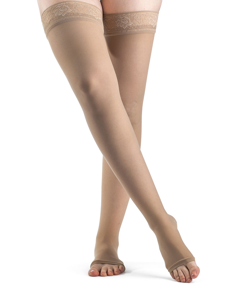 Sigvaris 500 Natural Rubber Open Toe Thigh High No Grip-Top 504T 40-50 mmHg