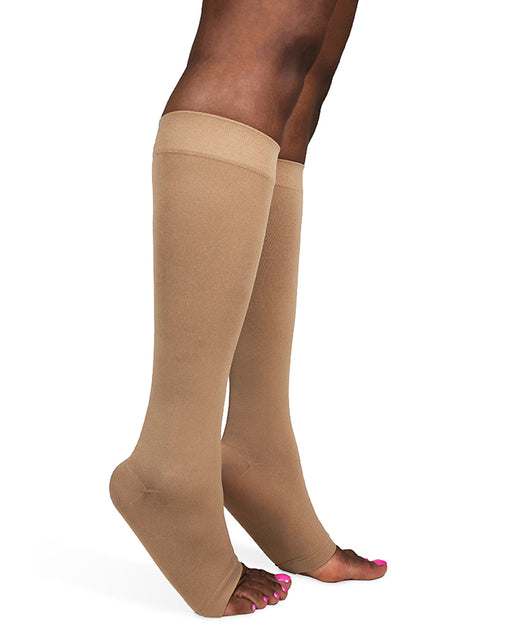 Sigvaris 550 Secure Unisex Open Toe Knee High w/ Silicone Band 40-50 mmHg - 554C