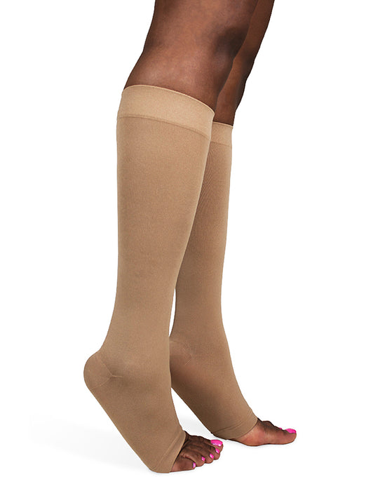 Sigvaris 550 Secure Unisex Open Toe Knee High w/ Silicone Band 30-40 mmHg - 553C