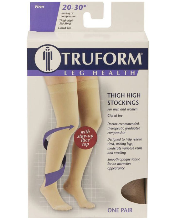 TRUFORM Classic Medical OPEN TOE Thigh High Support Stockings 20-30 mmHg