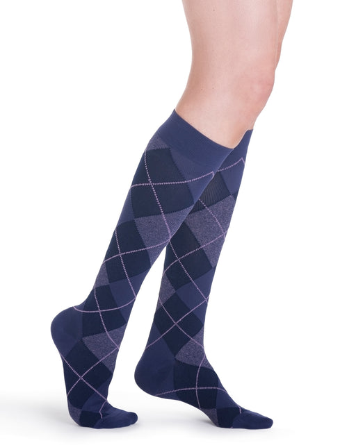 Sigvaris 143C Microfiber Shades Argyle Women's Closed Toe Knee Highs 15-20 mmHg