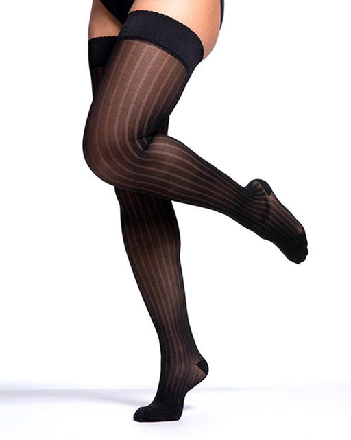 Sigvaris Allure 15-20 mmHg Women's Closed Toe Striped Thigh High - 711N