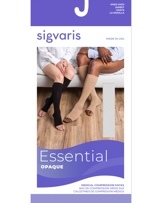 Sigvaris 860 Select Comfort OPEN TOE Knee-High w/Silicone Grip-Top Band 30-40 mmhg - 863C