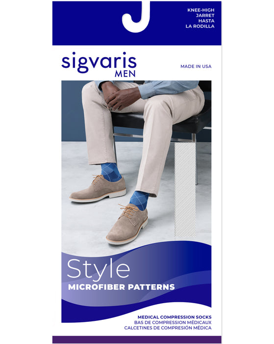 Sigvaris Microfiber Shades Argyle Men's Closed Toe Knee Highs 20-30 mmHg - 832C
