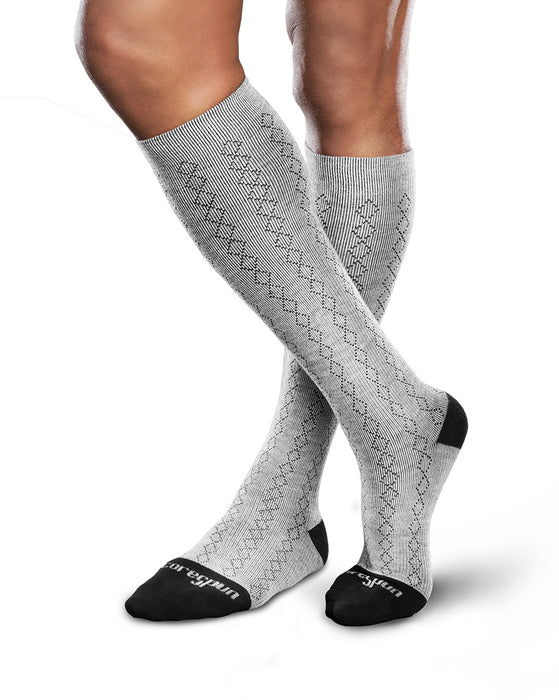 Therafirm Patterned Core-Spun Classic Diamond Socks for Men & Women 15-20mmHg