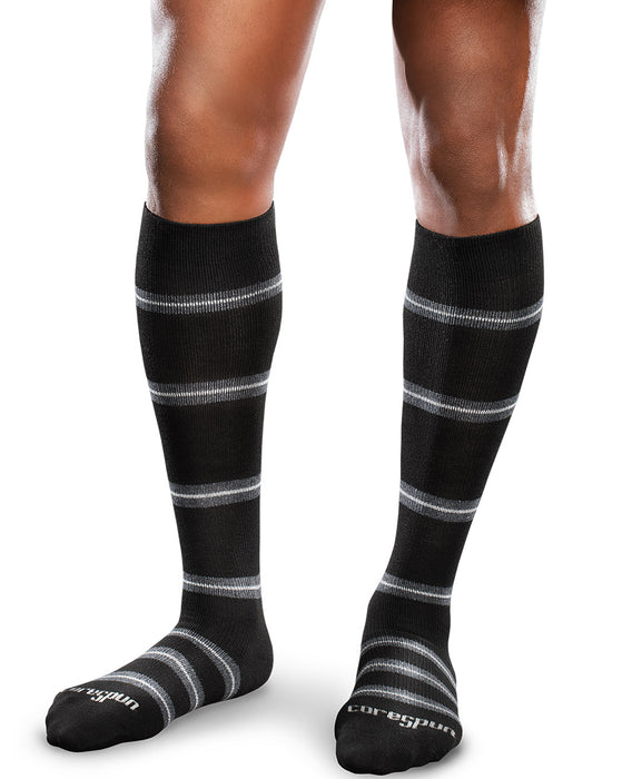 Therafirm Patterned Core-Spun Merger Socks for Men & Women 15-20mmHg