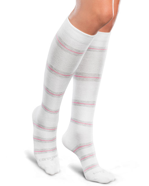 Therafirm Patterned Core-Spun Thin Line Socks for Men & Women 10-15mmHg