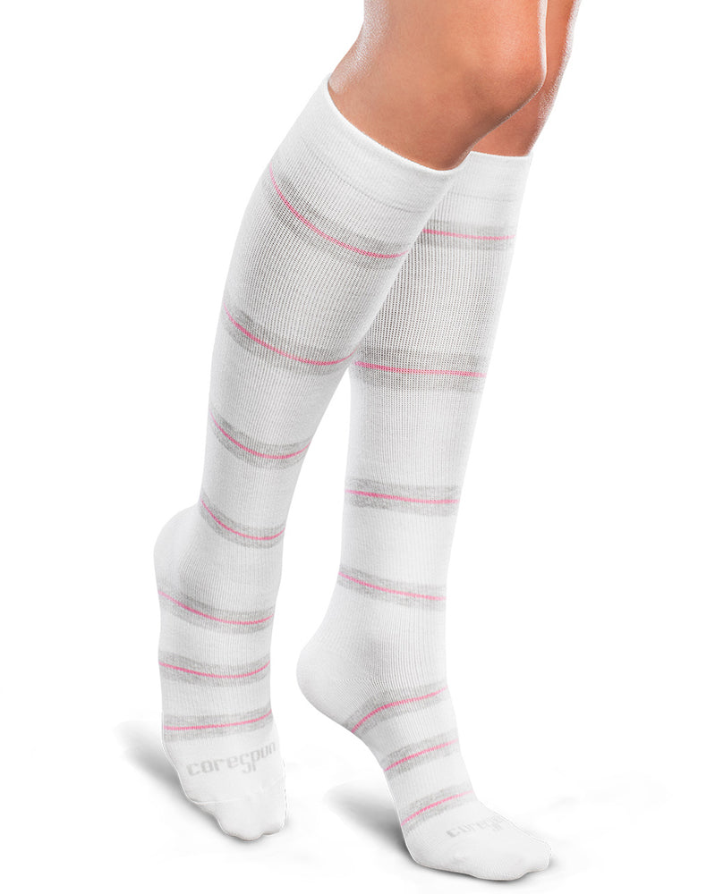Therafirm Patterned Core-Spun Thin Line Socks for Men & Women 20-30mmHg