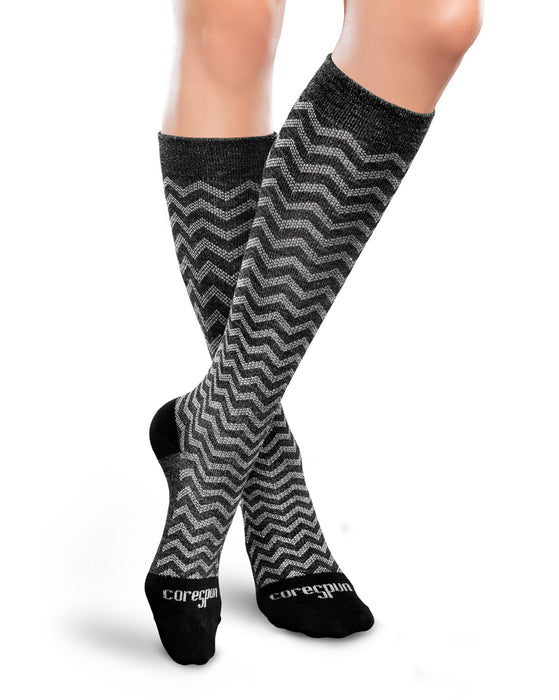 Therafirm Patterned Core-Spun Trendsetter Socks for Men & Women 10-15mmHg
