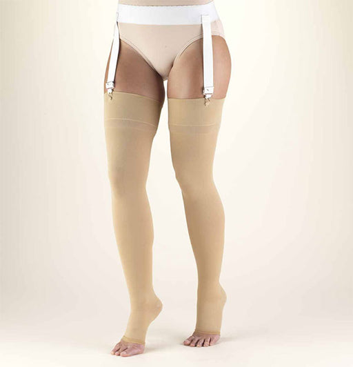 SECOND SKIN Surgical Grade OPEN TOE 20-30 mmHg Thigh High Support Stockings
