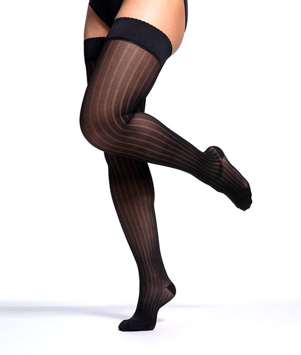 Sigvaris Allure 20-30 mmHg Women's Closed Toe Striped Thigh High - 712N