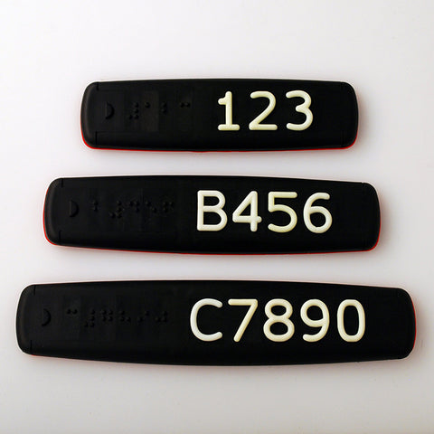 Black Braille and Tactile Sign with White Tactile Numbers and Characters for Australian Taxi and Ride Sharing Fleets