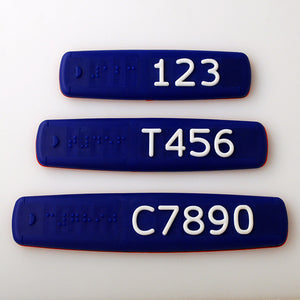 Blue Braille and Tactile Sign with White Tactile Numbers and Characters for Australian Taxi and Ride Sharing Fleets