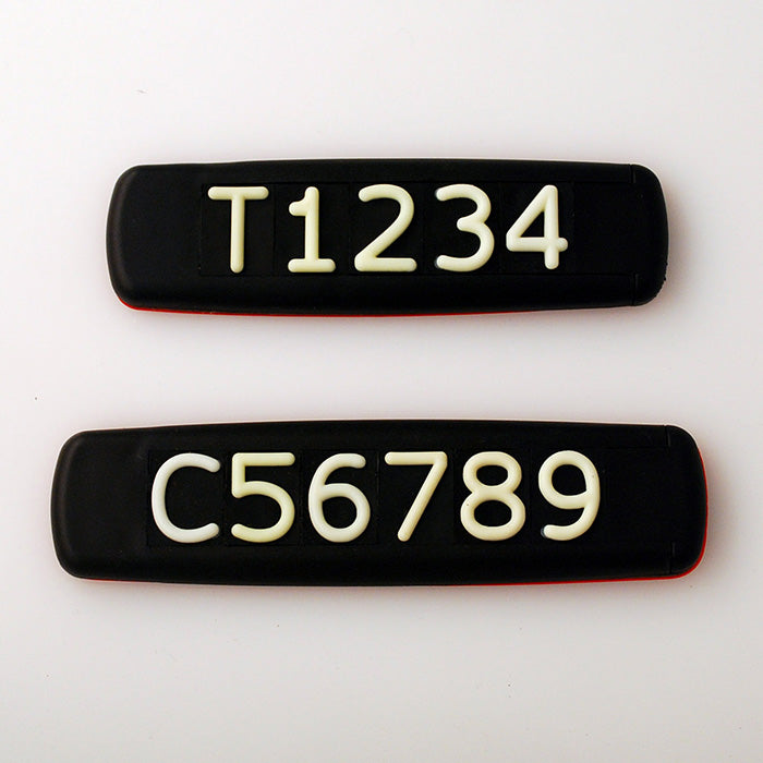 Black Tactile Sign with White Tactile Numbers and Characters for Australian Taxi and Ride Sharing Fleets