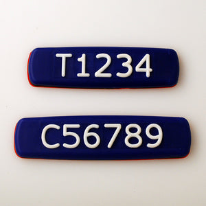 Blue Tactile Sign with White Tactile Numbers and Characters for Australian Taxi and Ride Sharing Fleets