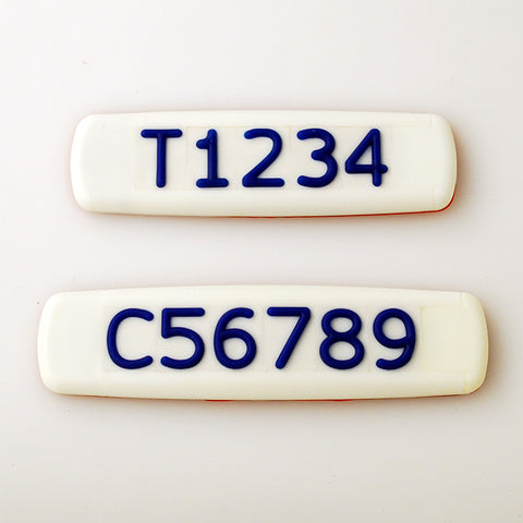 White Tactile Sign with Blue Tactile Numbers and Characters for Australian Taxi and Ride Sharing Fleets