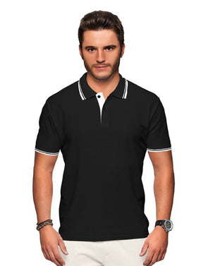 Polo Neck Men's Tshirt - Black & White