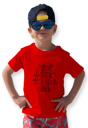 Its Good To Be Me Graphic Print Boy's Tshirt - Red