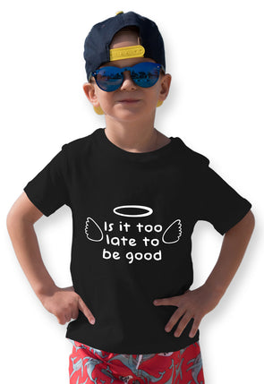 Is It Too Late To Be Good Graphic Print Boy's Tshirt - Black