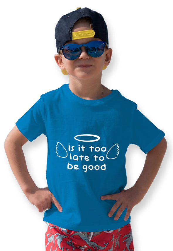Is It Too Late To Be Good Graphic Print Boy's Tshirt - Blue