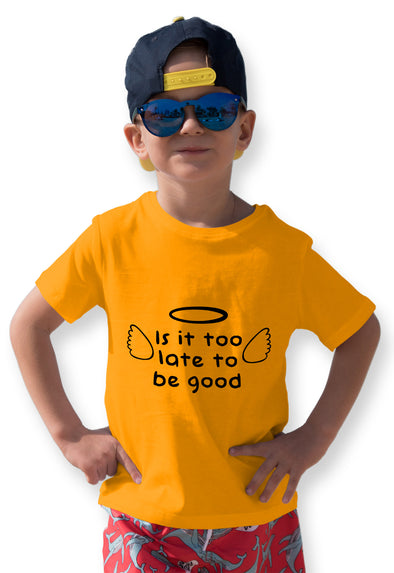 Is It Too Late To Be Good Graphic Print Boy's Tshirt - Yellow