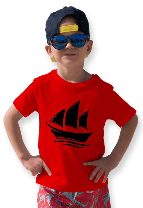 Ship Print Boy's Tshirt - Red