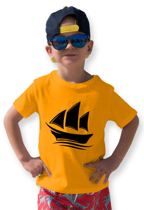 Ship Print Boy's Tshirt - Yellow