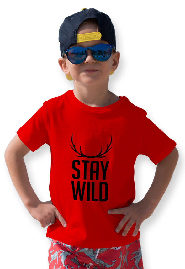 Stay Wild Graphic Print Boy's Tshirt - Red
