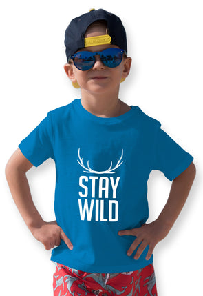 Stay Wild Graphic Print Boy's Tshirt - Blue