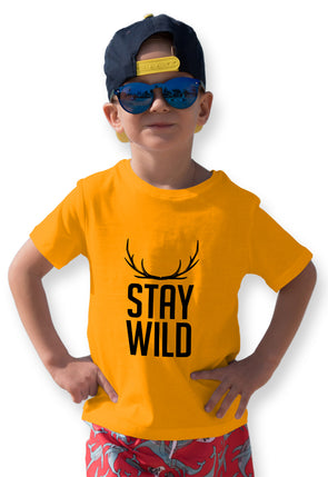 Stay Wild Graphic Print Boy's Tshirt - Yellow
