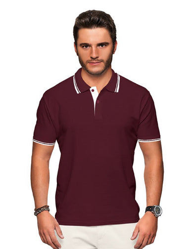 Polo Neck Men's Tshirt - Maroon & White