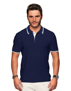 Polo Neck Men's Tshirt - Blue & White