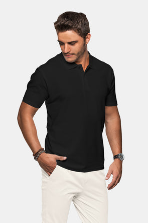 Polo Neck Men's Tshirt - Black