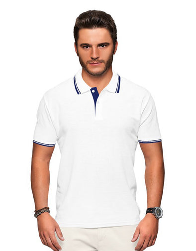 Polo Neck Men's Tshirt - White & Blue